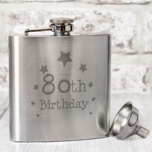 80th Birthday Silver Hip Flask Gift
